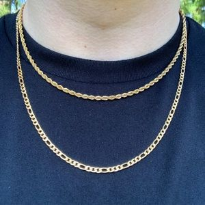 Other - Gold Figaro/Rope Chain Set 3mm